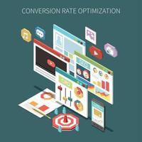 Ilustración de vector de concepto isométrico de optimización de tasa de conversión
