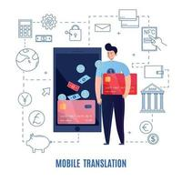 Mobile Money Transfers Composition Vector Illustration
