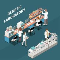 Genetic Laboratory Isometric Illustration Vector Illustration