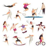 Summer Sportspeople Characters Set Vector Illustration