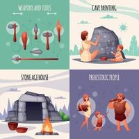 Prehistoric People Flat Concept Vector Illustration