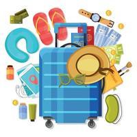 Suitcase Tourism Items Composition Vector Illustration