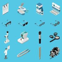 Ophthalmology Isometric Icons Set Vector Illustration