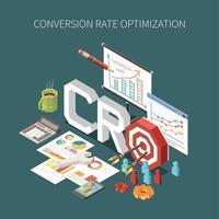 Ilustración de vector de concepto de optimización de tasa de conversión