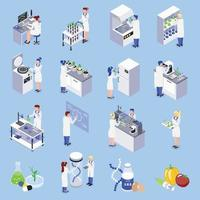 Bio Engineering Isometric Set Vector Illustration