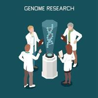 Genetics Isometric Concept Vector Illustration