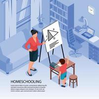 Education At Home Background Vector Illustration