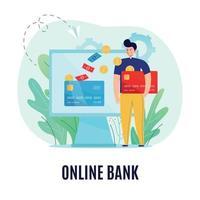 Online Bank Background Concept Vector Illustration