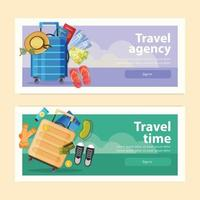 tiempo de viaje banners horizontales vector illustration