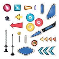 Pinball Realistic Elements Set Vector Illustration