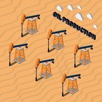 Ilustración de vector de composición isométrica de producción de petróleo