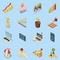 Online Trading Isometric Icons Set Vector Illustration