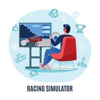Racing Simulator Round Composition Vector Illustration