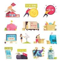 Charity Isolated Compositions Set Vector Illustration