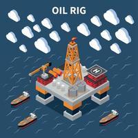 Ilustración de vector de composición isométrica de la industria petrolera