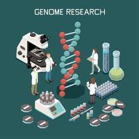 Genetics Isometric Composition Vector Illustration