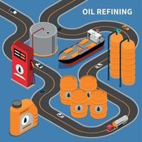 Ilustración de vector de composición isométrica de la industria del gas de petróleo