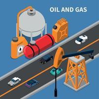 Ilustración de vector de composición de la industria de petróleo y gas