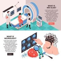Neurology Isometric  Banners Vector Illustration