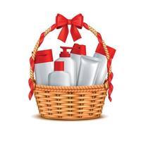 Cosmetics Basket Gift Realistic Vector Illustration