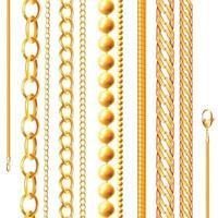 Realistic Golden Chains Set Vector Illustration