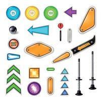 Pinball Parts Realistic Set Vector Illustration