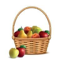 Wicker Basket Fruits Realistic Vector Illustration