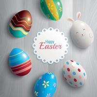 Easter Eggs Greeting Card Vector Illustration