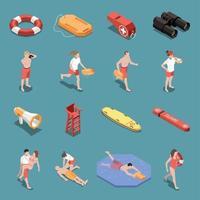 Beach Lifeguards Isometric Set Vector Illustration