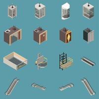 Lift Isometric Icons Set Vector Illustration