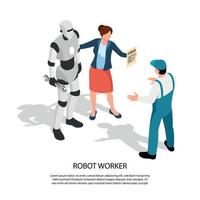Robot Worker Isometric Composition Vector Illustration