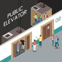 Elevator Isometric Composition Vector Illustration