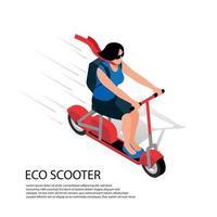 Eco Scooter Isometric Illustration Vector Illustration