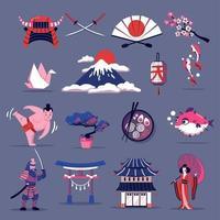 Japan Travel Set Vector Illustration