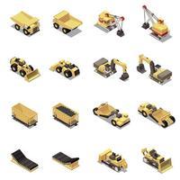Mining Machinery Isometric Icons Set Vector Illustration