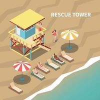 Lifeguards Isometric Illustration Vector Illustration
