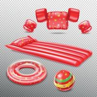 inflatable Swimming Red Accessories Vector Illustration