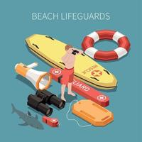 Beach Lifeguard Composition Vector Illustration