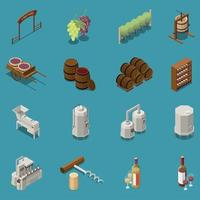 Wine Production Isometric Icons Set Vector Illustration