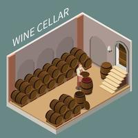 Wine Cellar Isometric Illustration Vector Illustration