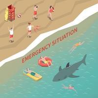 Beach Lifeguards Isometric Illustration Vector Illustration