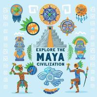 Maya Civilization Background Flowchart Vector Illustration