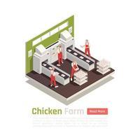 Chicken Farm Isometric Composition Vector Illustration