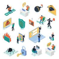 Cyber Security Isometric Set Vector Illustration