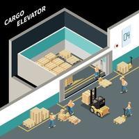 Cargo Elevator Isometric Composition Vector Illustration