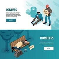 Jobless And Homeless Isometric Banners Vector Illustration