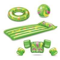 Swimming Accessories Green Set Vector Illustration