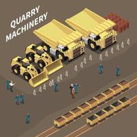 Quarry Machinery Isometric Illustration Vector Illustration