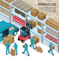 Warehouse Isometric Illustration Vector Illustration