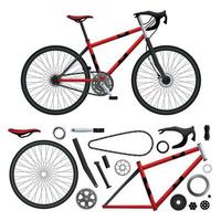 Realistic Bicycle Parts Set Vector Illustration